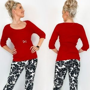Red Scoop Neck Sweater Shirt